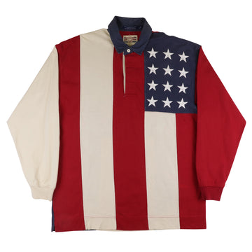1990s Tommy Jeans USA Flag Long Sleeve Rugby Shirt M