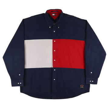 1990s Tommy Hilfiger Back Flag Long Sleeve Shirt 2XL