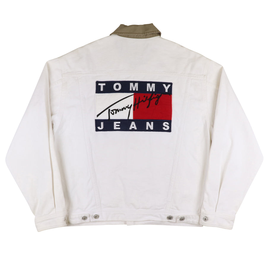 1990s Tommy Hilfiger Back Flag Jean Jacket S