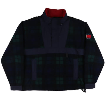 1990s Tommy Hilfiger Half Zip Plaid Fleece Flag Patch Jacket L