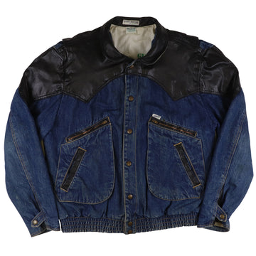 1986 Guess George Marciano Denim & Leather Jean Jacket M