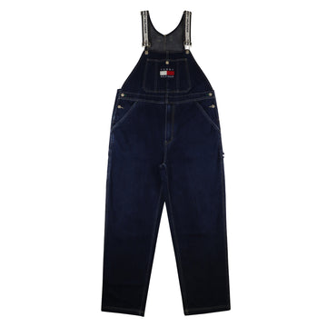 1990s Tommy Hilfiger Flag Patch Denim Overalls XL