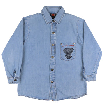 1990s Harley Davidson V-Twin Power Denim Shirt S Youth