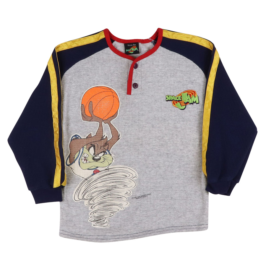 1996 Space Jam Looney Tunes Waffle Long Sleeve Henley Shirt XS Youth