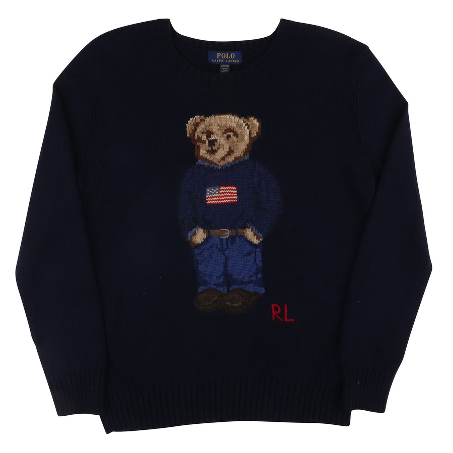 2000s Polo Ralph Lauren Standing Bear Knit Sweater L Kids
