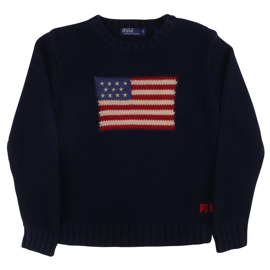 2000s Polo Ralph Lauren USA Flag Knit Sweater 7 Kids