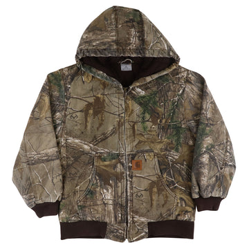 2000s Carhartt Insulated Zip Front Camouflage Hooded Jacket M Youth