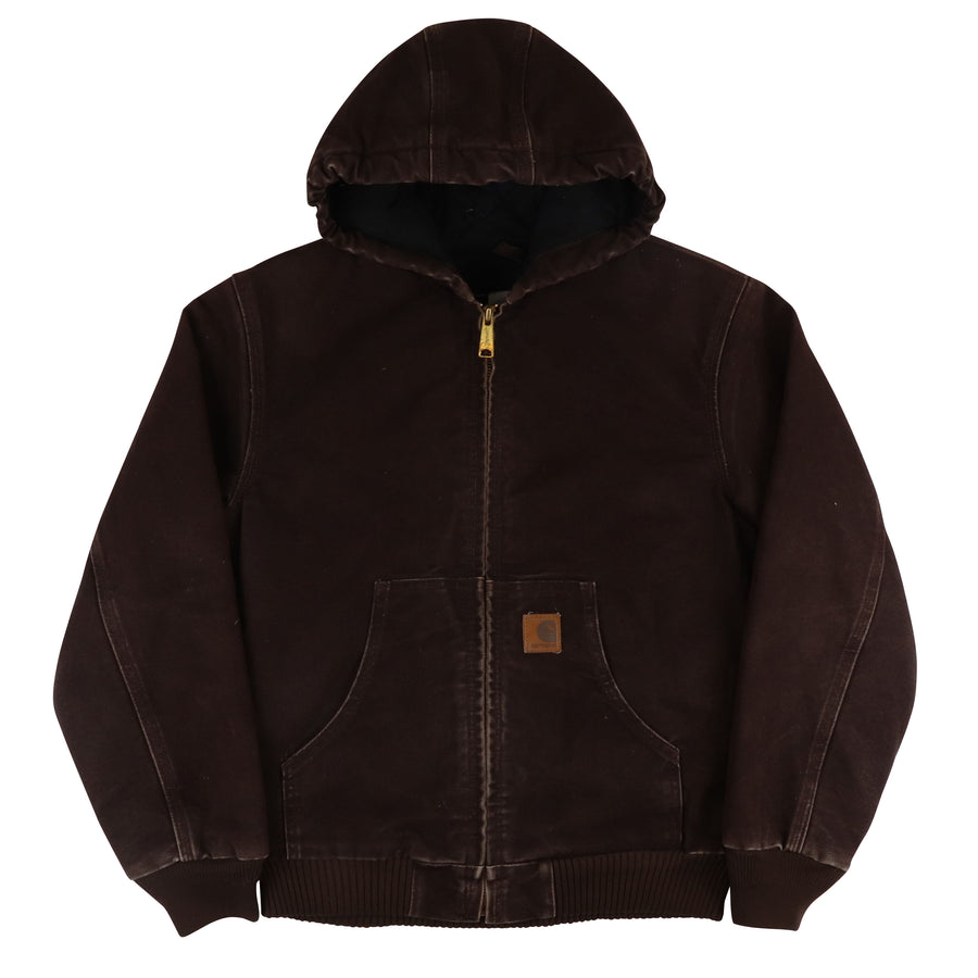 2000s Carhartt Insulated Zip Front Hooded Jacket L Youth