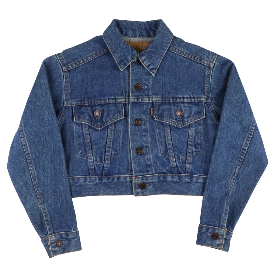 1980s Levi's Type 4 Button Front Cropped Jean Jacket M Kids