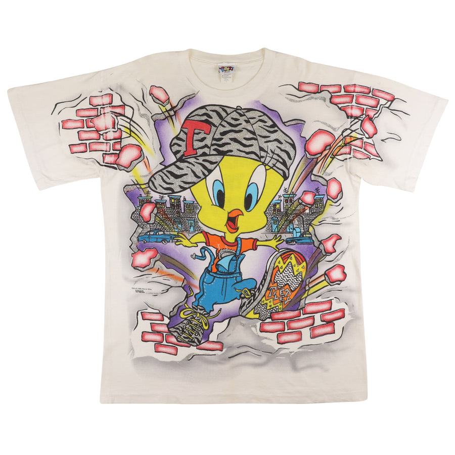 1996 Warner Bros Looney Tunes Tweety Bird All Over Print T-Shirt L