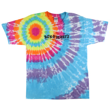 2000s Ben & Jerry 'Great Ice Cream And So Much More!' Tie Dye Promo T-Shirt L