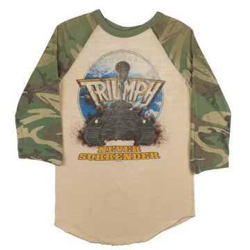 1983 Triumph Never Surrender Camo Sleeve Paper Thin Raglan T-Shirt S