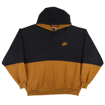 1990s Nike Swoosh Two Tone Hooded Sweatshirt L