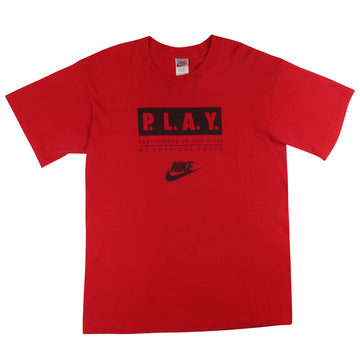 1990s Nike Grey Tag PLAY Participating In The Lives Of Americas Youth T-Shirt XL