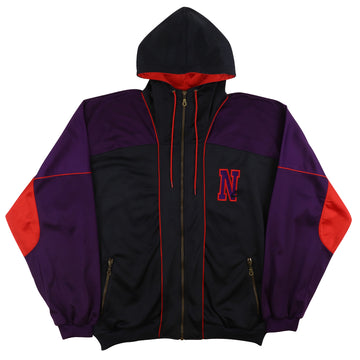 1990s Nike Nylon Spell Out Logo Hooded Track Jacket L