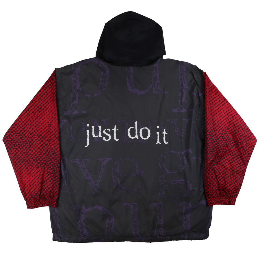 1990s Nike 'Just Do It' Printed Sleeve Hooded Track Jacket XL