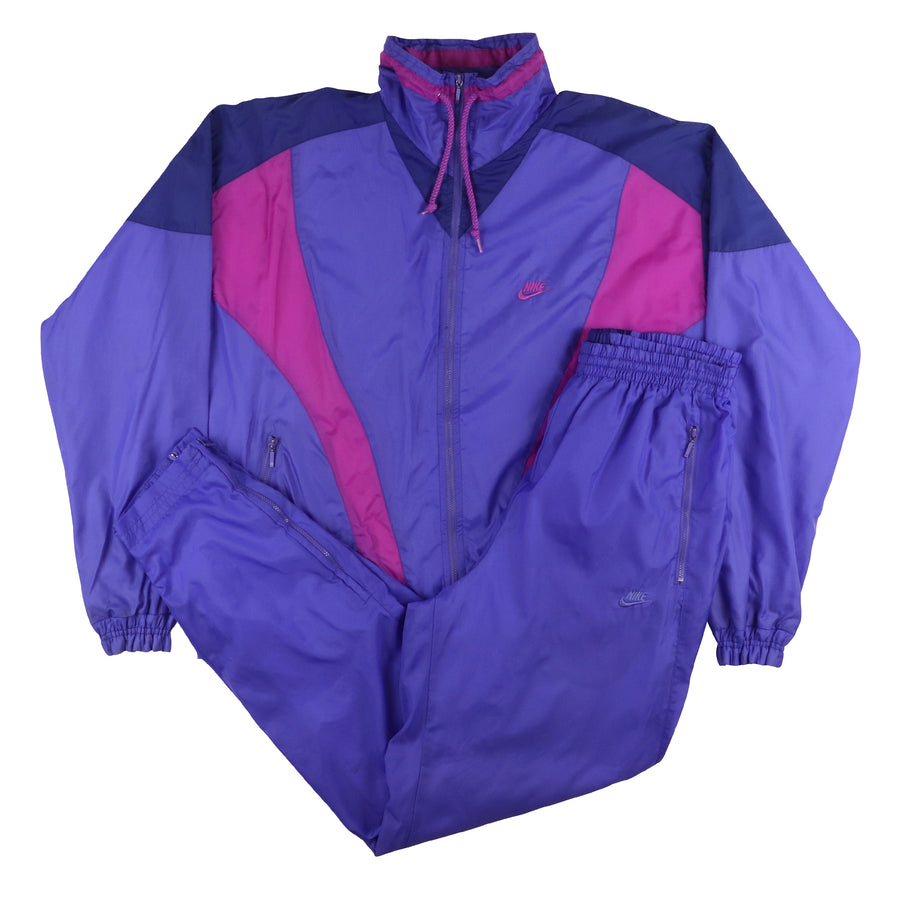 1990s Nike Colour Block Waffle Lined Womens Tracksuit M