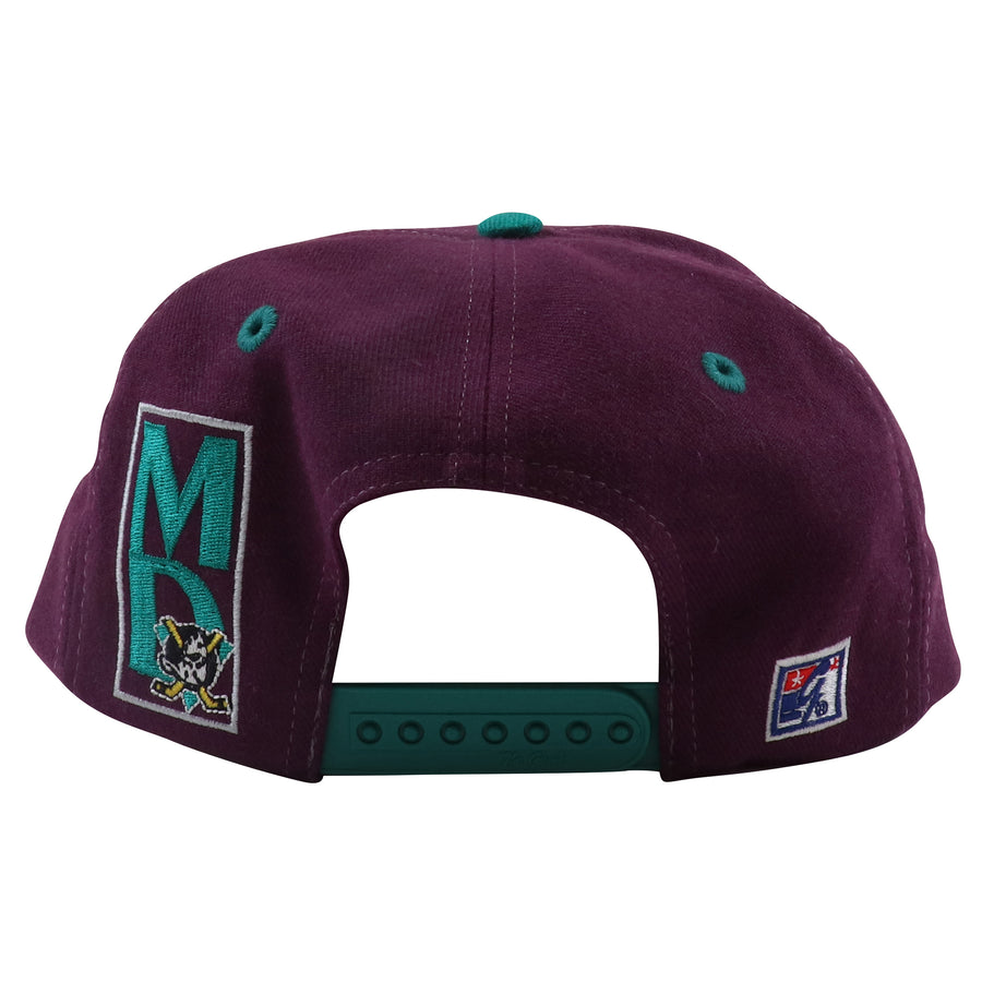 1990s The Game Anaheim Mighty Ducks Banner Spell Out Snapback Hat
