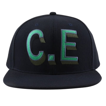 2000s Cav Empt C.E. Oversized Spell Out Leather Strapback Hat