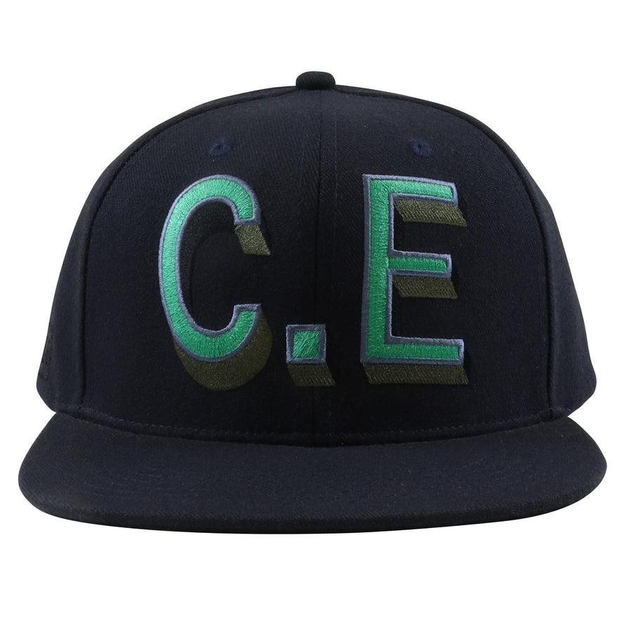 2000s Cav Empt C.E. Oversized Logo Leather Strapback Hat