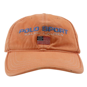 1990s Ralph Lauren Polo Sport USA Flag Leather Strapback Hat