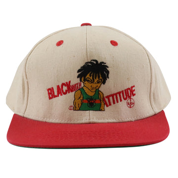 1990s Black With Attitude Embroidered Two Tone Snapback Hat