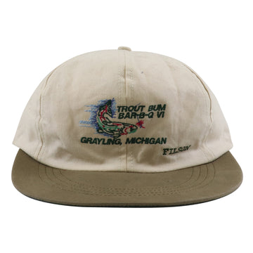 1990s Filson Michigan Fishing Long Bill Leather Strapback Hat