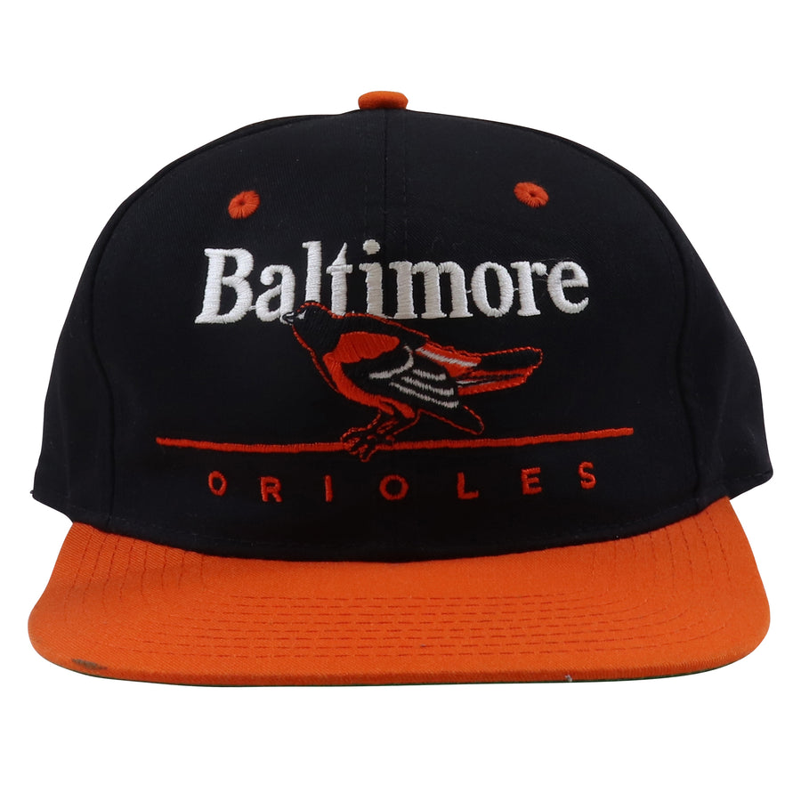 1990s Twins Baltimore Orioles Classic Spell Out Two Tone Snapback Hat
