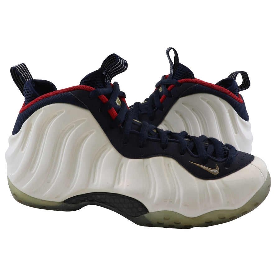 2016 Nike Air Foamposite One Olympic Obsidian/University Red/Metallic Gold/White Basketball Shoes 9.5
