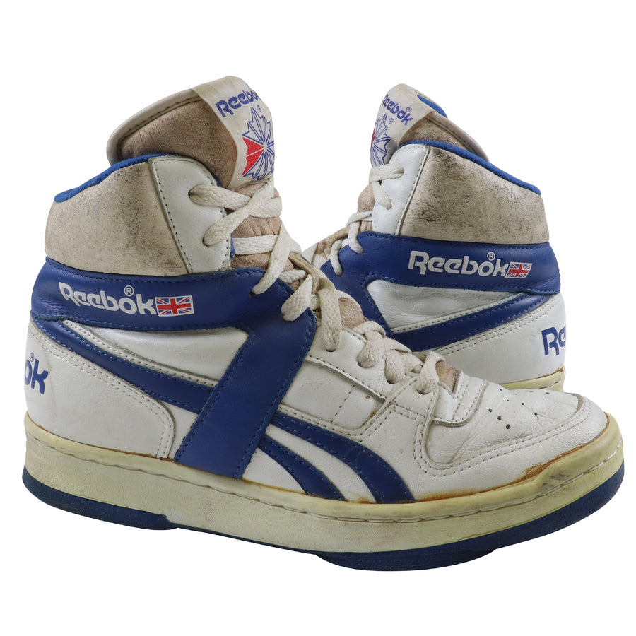 1980s Reebok BB4600 Blue/White Basketball Shoes 8.5