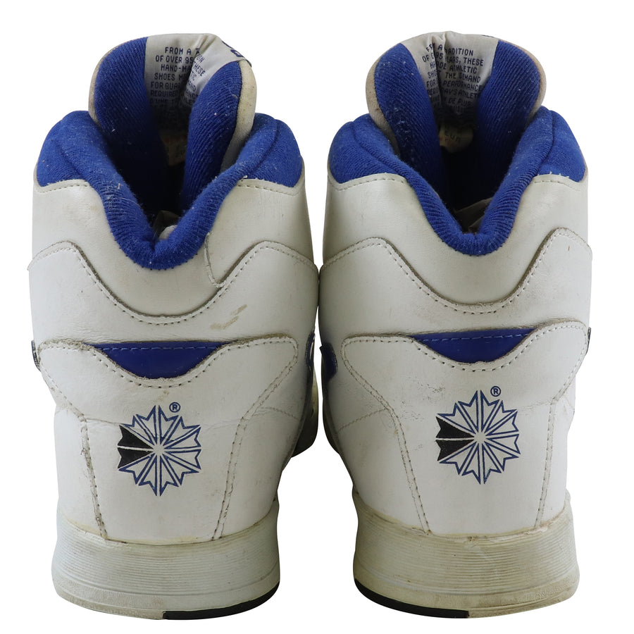 1980s Reebok BB4600 White/Royal Blue Basketball Shoes 9.5