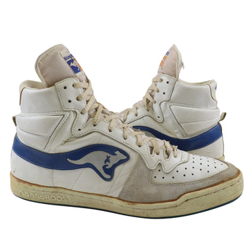 1983-85 Kangaroos 'Roos' Zipper Tongue Pocket White/Royal Blue Basketball Shoes 13
