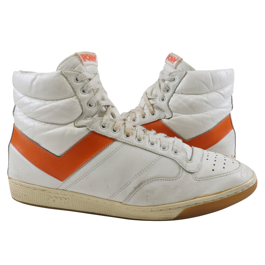 1982 Pony #1 White / Orange High Top Basketball Shoes 13