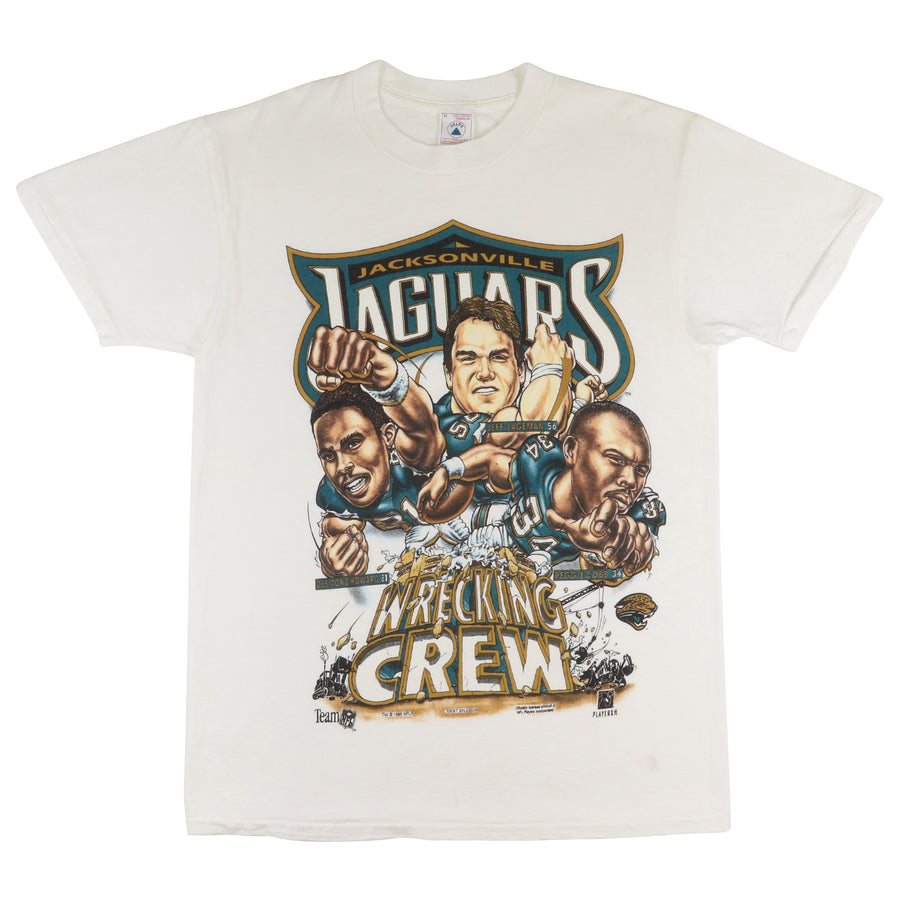 1995 Jacksonville Jaguars 'Wrecking Crew' Team Big Head T-Shirt M