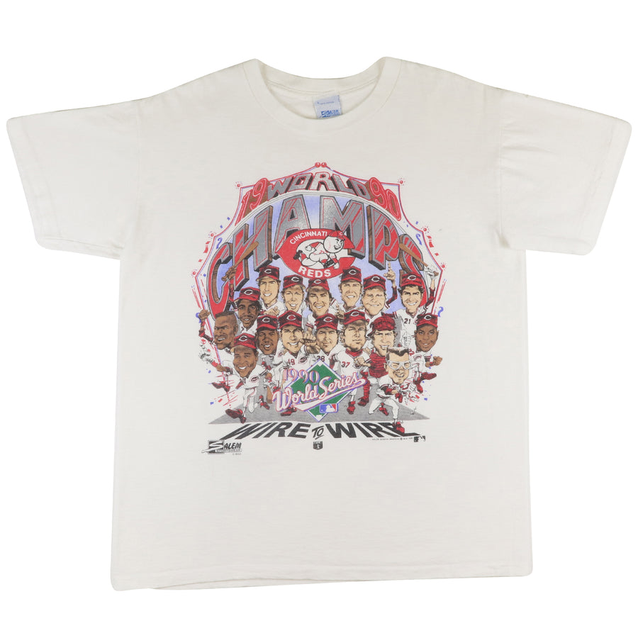 1990 World Series Cincinnati Reds 'Wire To Wire' Team Big Head T-Shirt L