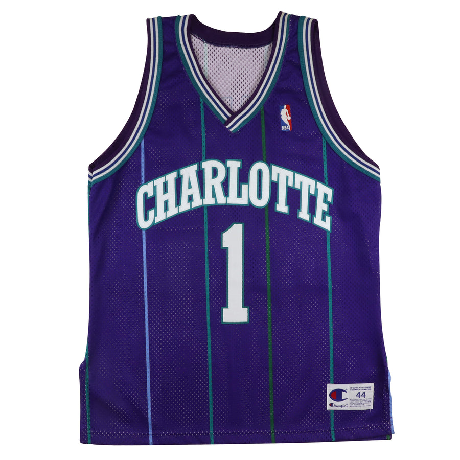 1990s Champion Authentic Charlotte Hornets Muggsy Bogues Jersey 44