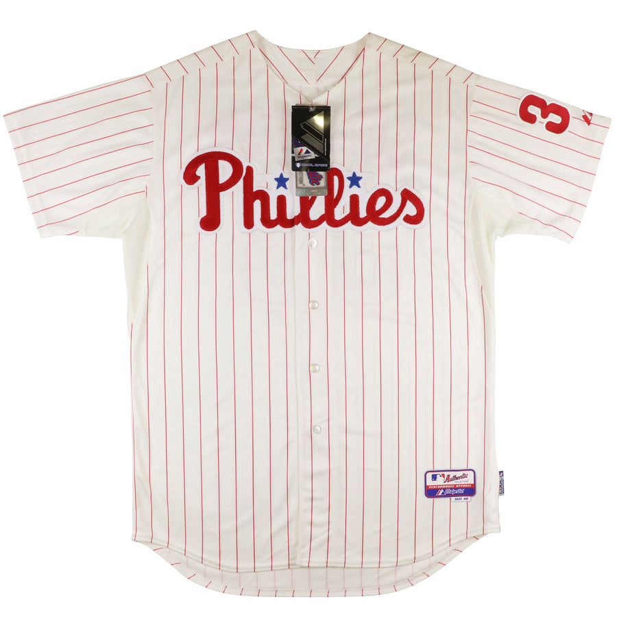 2010 Majestic Authentic Philadelphia Phillies Curt Schilling Signed Jersey 48
