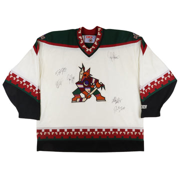 1990s CCM Phoenix Coyotes Team Signed Jersey 2XL