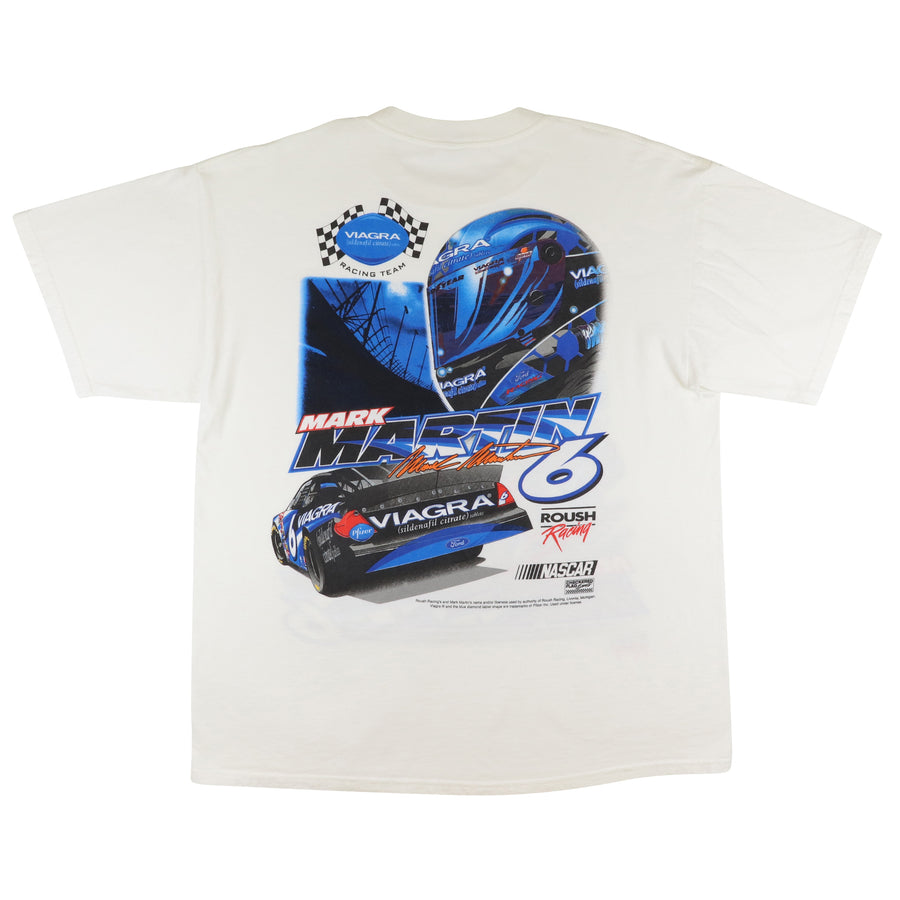 2000s Nascar Roush Racing Viagra Mark Martin Double Sided Print T-Shirt XL