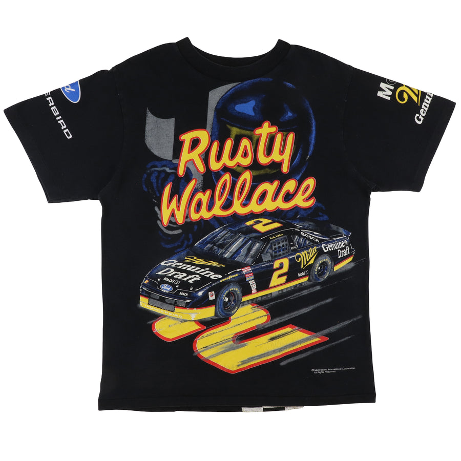 1990s Nascar Rusty Wallace All Over Print Racing Miller Genuine Draft T-Shirt L