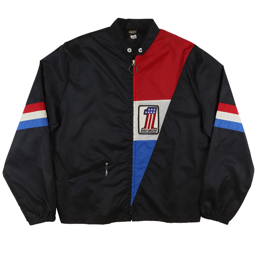 1970s Harley Davidson Number 1 Graphic Full Zip Windbreaker Jacket M