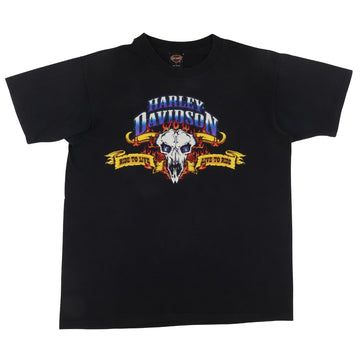 1995 Harley Davidson Ride To Live Cow Skull Long Island New York Dealership T-Shirt L