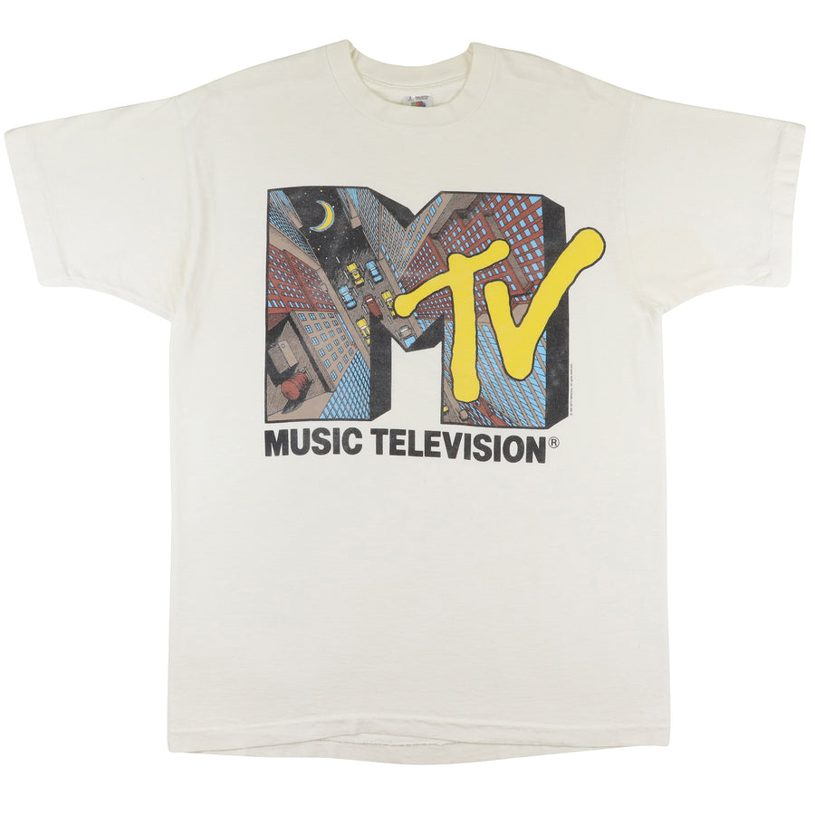 1991 Music Television MTV City Print T-Shirt L