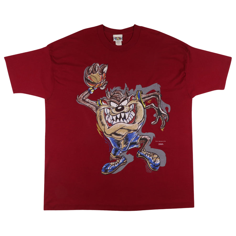 1996 Looney Tunes Taz Devil Basketball Sports Print T-Shirt L