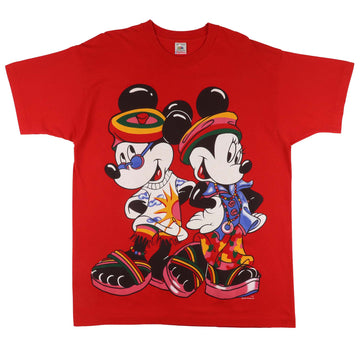 1990s Disney Mickey & Minnie Mouse Oversized Print Bootleg T-Shirt XL