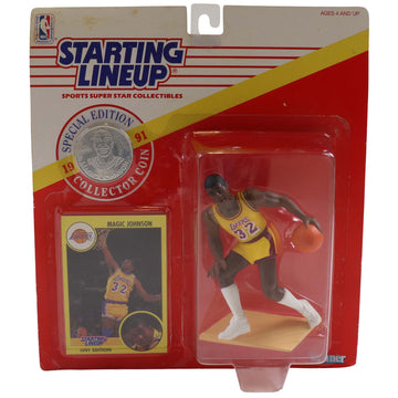 1991 Starting Lineup With Collector Coin Los Angeles Lakers Magic Johnson Figure