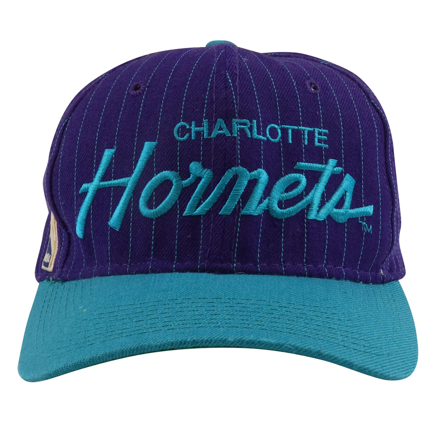 1990s Sports Specialties Charlotte Hornets Cursive Pinstripe Snapback Hat