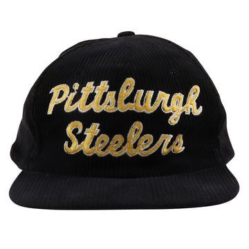 1980s Starter Eastport Pittsburgh Steelers Script Corduroy Snapback Hat