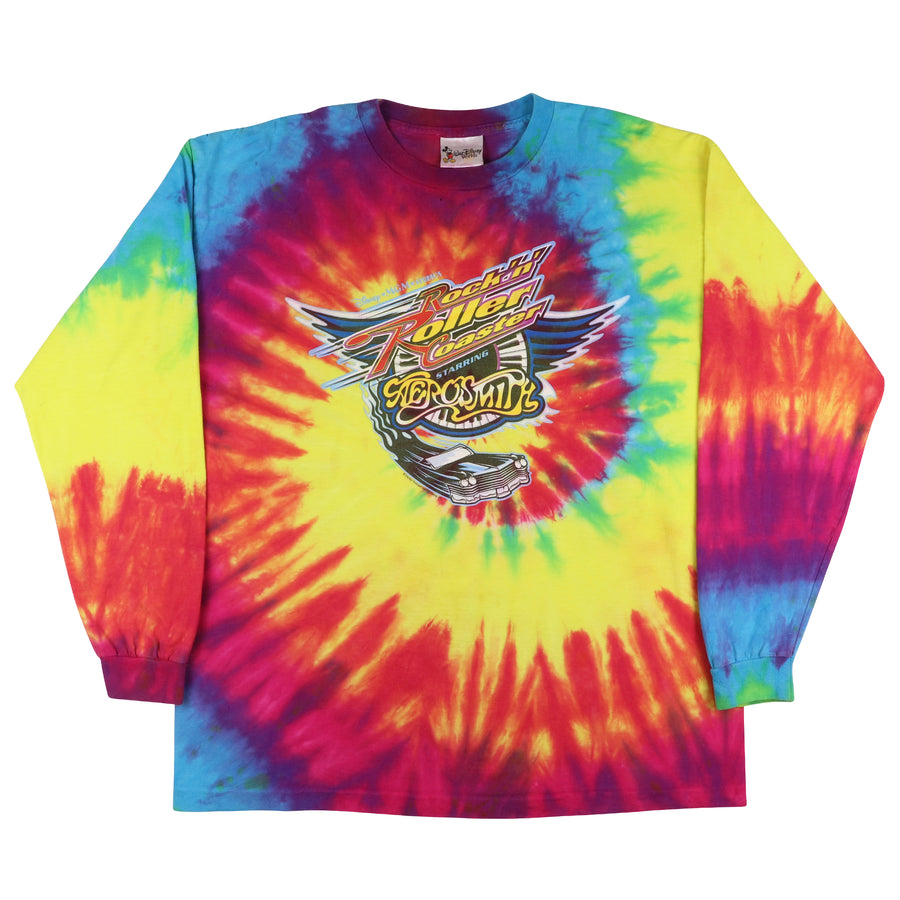 1999 Disney Rock N Roller Coaster Aerosmith Tie Dye Long Sleeve Shirt XL