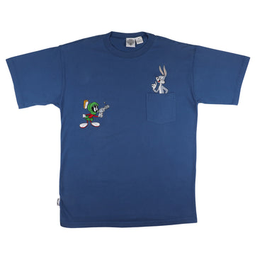 1991 Looney Tunes Bugs Bunny Marvin The Martian Embroidered Pocket T-Shirt XL